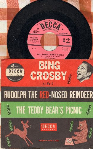 Crosby, Bing - The Teddy Bear's Picnic/Rudolph The Red-Nosed Reindeer (NICE conditon with RARE picture sleeve!) - NM9/EX8 - 45 rpm Records
