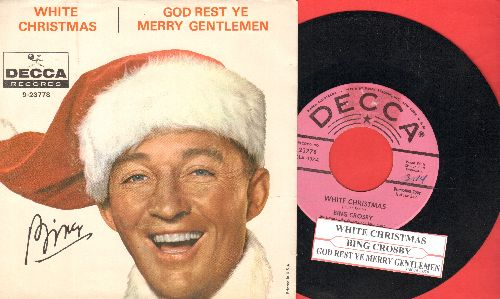 Crosby, Bing - White Christmas/God Rest Ye Merry Gentlemen (RARE pink label DJ advance pressing/star lines with picture sleeve, sos) - NM9/EX8 - 45 rpm Records