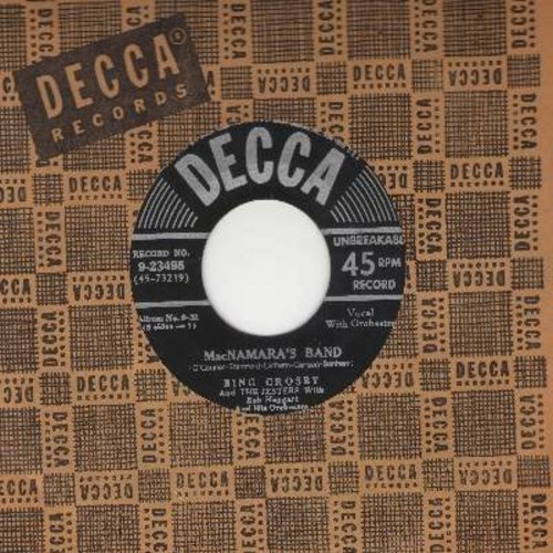 Crosby, Bing - MacNamara's Band/Dear Old Donegal (ST. PATRICK'S DAY FAVORITE!) (black label/silver lines early 1950s issue with Decca company sleeve) - EX8/ - 45 rpm Records