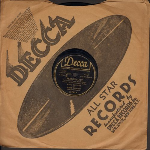 Crosby, Bing - Personality/Would You? (10 inch 78 rpm record with Decca company sleeve) - VG6/ - 78 rpm