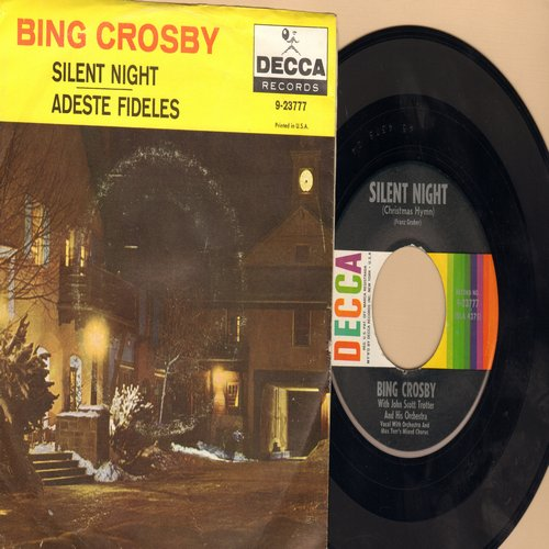 Crosby, Bing - Silent Night/Adeste Fideles (multi-color label with picture sleeve) - NM9/VG7 - 45 rpm Records