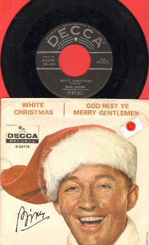 Crosby, Bing - White Christmas/God Rest Ye Merry Gentlemen (1950s pressing/star lines with picture sleeve, sos) - NM9/VG7 - 45 rpm Records
