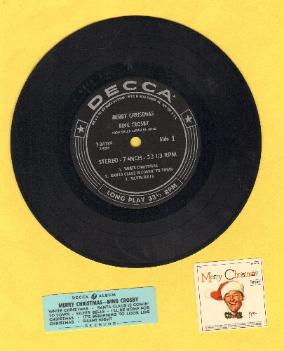Crosby, Bing - Merry Christmas: White Christmas/Santa Claus Is Comin' To Town/Silver Bells/I'll Be Home For Christmas/Silent Night/Iy's Beginning To Look A Lot Like Christmas (7 inch 33rpm record with small spingle hole, with picture cover and juke box la