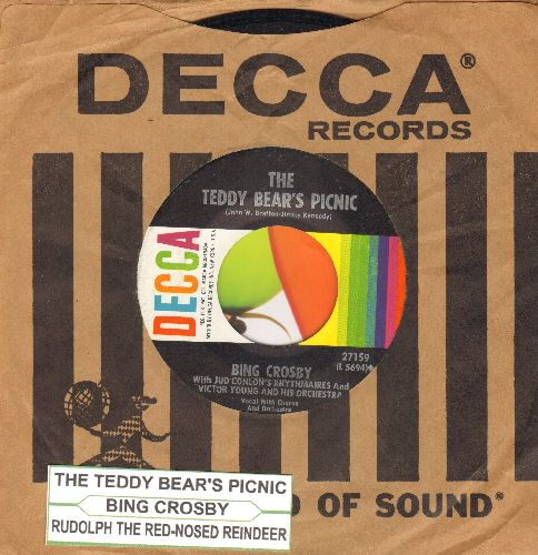 Crosby, Bing - The Teddy Bear's Picnic/Rudolph The Red-Nosed Reindeer (multi-color 1960s pressing with Decca company sleeve and juke box label) - NM9/ - 45 rpm Records