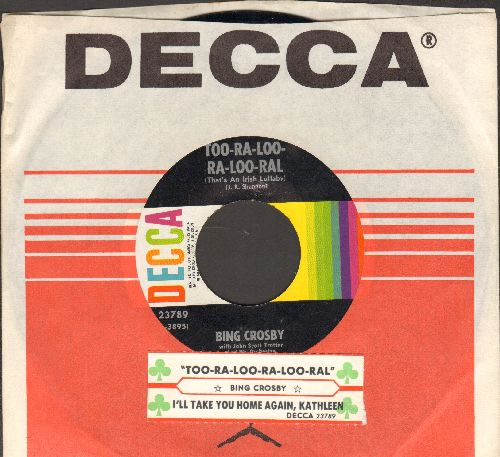 Crosby, Bing - Too-Ra-Loo-Ra-Loo-Ral (That's An Irish Lullaby)/I'll Take You Home Again, Kathleen (with Decca company sleeve and juke box label) - NM9/ - 45 rpm Records