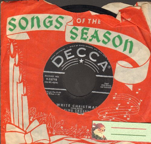 Crosby, Bing - White Christmas/God Rest Ye Merry Gentlemen (black label early 1950s issue with RARE Songs Of The Season Christmas sleeve!)  - EX8/ - 45 rpm Records
