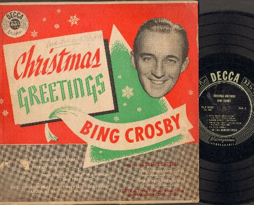 Crosby, Bing & The Andrews Sisters - Christmas Greetings: Here Comes Santa Claus, The First Nowell, Good King Wencelas (10 inch Microgroove LP record with picture cover, 1949 pressing) - VG7/VG7 - LP Records
