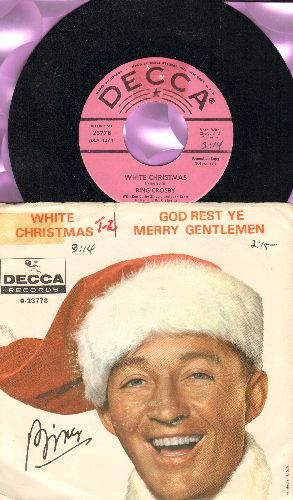 Crosby, Bing - White Christmas/God Rest Ye Merry Gentlemen (RARE pink label DJ advance pressing/star lines with picture sleeve, sos) - NM9/VG7 - 45 rpm Records