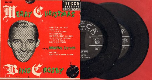 Crosby, Bing - Merry Christmas: White Christmas/Silent Night/I'll Be Home For Christmas/Jingle Bells/Santa Claus Is Comin' To Town + 3 (2 vinyl EP record with gate-fold cover) - NM9/EX8 - 45 rpm Records