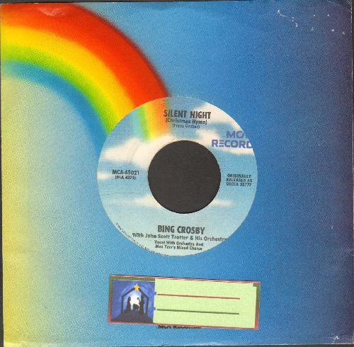 Crosby, Bing - Silent Night/Adeste Fideles (re-issue with MCA company sleeve) (light rainbow label) - NM9/ - 45 rpm Records