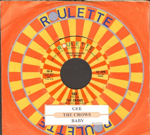 Crows - Gee/Baby (double-hit re-issue with juke box label and company sleeve) - NM9/ - 45 rpm Records