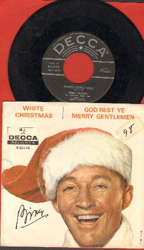 Crosby, Bing - White Christmas/God Rest Ye Merry Gentlemen (black label/star lines issue with picture sleeve, sos) - VG7/EX8 - 45 rpm Records