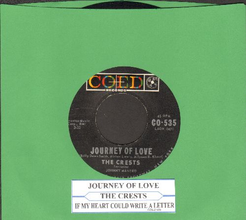 Crests - If My Heart Could Write A Letter/Journey Of Love (with juke box label) - EX8/ - 45 rpm Records