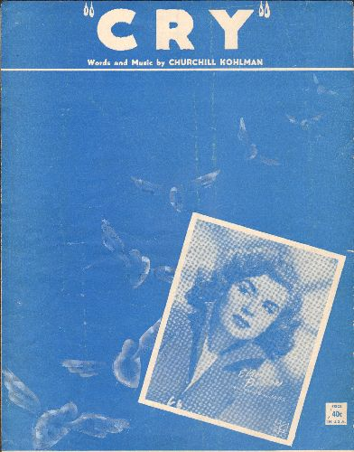 Barton, Eileen - Cry - Vintage SHEET MUSIC for the standard, featuring nce cover portrait of singer Eileen Barton. - EX8/ - Sheet Music
