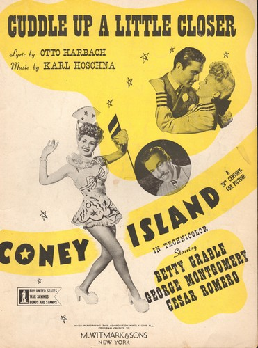 Grable, Betty - Cuddle Up A Little Closer - Vintage SHEET MUSIC for the song featured in film Coney Island, starring Betty Grable, George Montgomery and Cesar Romero. NICE cover art featuring Betty Grable! - EX8/ - Sheet Music