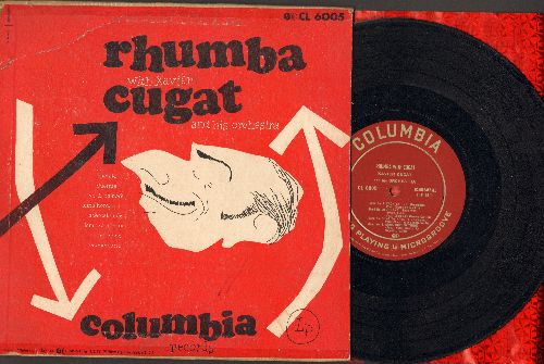 Cugat. Xavier & His Orchestra - Rhumba With Cugat: Cachita/Duerme/Negra Leono/La Cumparasa/Acercate Mas + 3 (10 inch LP record with picture cover, 1948 first pressing) - VG7/VG7 - LP Records