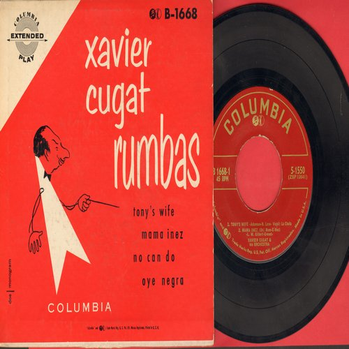 Cugat, Xavier - Rumbas: Tony's Wife/Mama Inez/No Can Do/Oye Negra (Vinyl EP record with picture cover) - EX8/EX8 - 45 rpm Records
