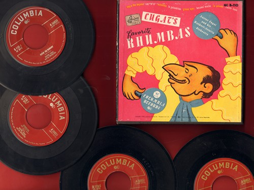 Cugat, Xavier & His Orchestra - Cugat's Favorite Rhumbas: La Paloma/Cielito Lindo/Besame Mucho + 5 (4 vintage 7 inch 45rpm records in Box Set) - EX8/VG7 - 45 rpm Records