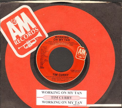 Curry, Tim - Working On My Tan (double-A-sided DJ advance pressing with juke box label and company sleeve) - NM9/ - 45 rpm Records