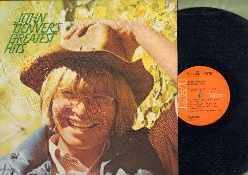 Denver, John - John Denver's Greatest Hits: Leaving On A Jet Plane, Take Me Home Country Roads, Sunshine On My Shoulders, Rocky Mountain High (vinyl STEREO LP record) - EX8/EX8 - LP Records