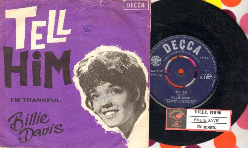 Davis, Billie - Tell Him/I'm Thankful (British Pressing with juke box label and picture sleeve, with removable spindle-adaptor) - EX8/VG7 - 45 rpm Records