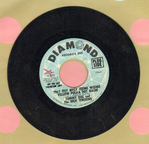 Dae, Tommy & The High Tensions - 1967 Itsy Bitsy Teenie Weenie Yellow Polka Dot Bikini/Summertime Girl (RARE Psychedelic version of the Novelty Classic, DJ advance pressing) - EX8/ - 45 rpm Records