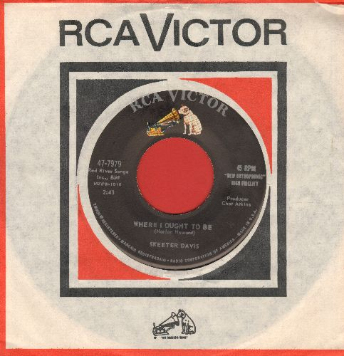 Davis, Skeeter - Where I Ought To Be/Something Precious (with vintage RCA company sleeve) - EX8/ - 45 rpm Records