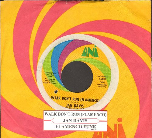 Davis, Jan - Walk Don't Run (Flamenco)/Flamenco Funk (with juke box label and UNI company sleeve) - EX8/ - 45 rpm Records