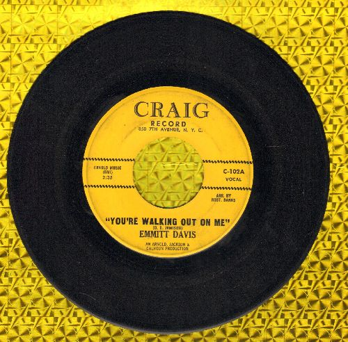 Davis, Emmitt - You're Walking Out On Me/Play Boy's Summer Theme (RARE Vintage R&B 2-sider) - VG7/ - 45 rpm Records