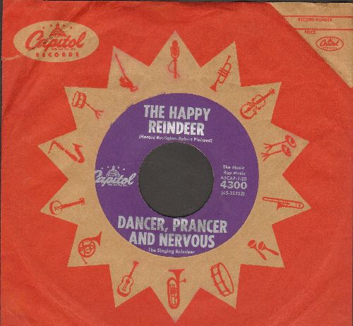 Dancer, Prancer And Nervous - The Happy Reindeer/Dancer's Waltz (NICE condition with vintage Captiol company sleeve) - NM9/ - 45 rpm Records