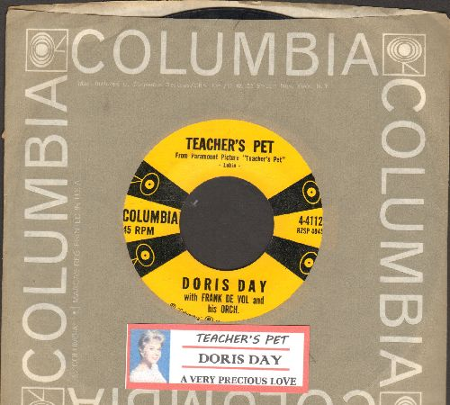 Day, Doris - Teacher's Pet/A Very Precious Love (with juke box label and vintage Columbia company sleeve) - NM9/ - 45 rpm Records