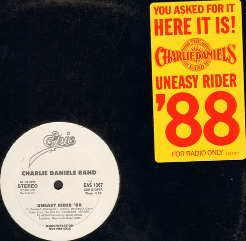 Daniels, Charlie Band - Uneasy Rider '88 (12 inch vinyl Maxi Single, double-A-sided DJ advance pressing) - M10/ - Maxi Singles