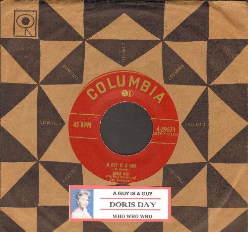 Day, Doris - A Guy Is A Guy/Who Who Who (with vintage Columbia company sleeve and juke box label) - EX8/ - 45 rpm Records