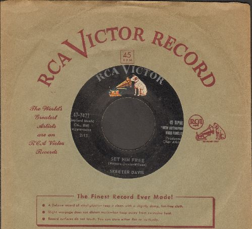 Davis, Skeeter - Set Him Free/The Devil's Doll (with RCA company sleeve) - EX8/ - 45 rpm Records