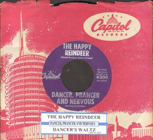 Dancer, Prancer And Nervous - The Happy Reindeer/Dancer's Waltz (with juke box label and vintage Captiol company sleeve) - EX8/ - 45 rpm Records