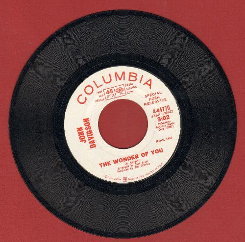 Davidson, John - The Wonder Of You (double-A-sided DJ advance pressing) - NM9/ - 45 rpm Records