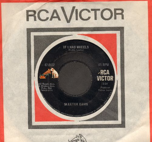 Davis, Skeeter - If I Had Wheels/If I Ever Get To Heaven (MINT condition with vintage RCA company sleeve) - M10/ - 45 rpm Records