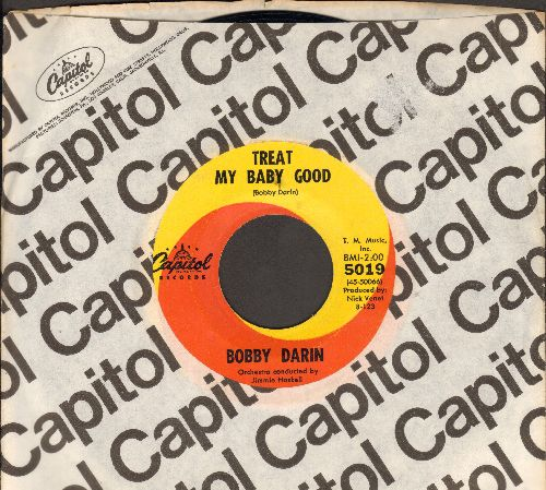 Darin, Bobby - Treat My Baby Good/Down So Long (with Capitol company sleeve) - EX8/ - 45 rpm Records