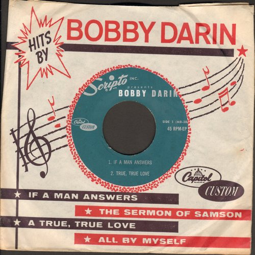 Darin, Bobby - If A Man Answers/True, True Love/Sermon Of Samson/All By Myself (Vinyl EP record with RARE company sleeve - NO pen!) - NM9/ - 45 rpm Records