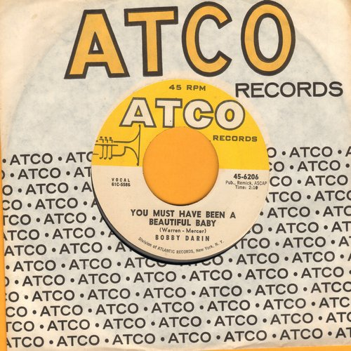 Darin, Bobby - You Must Have Been A Beautiful Baby/Sorrow Tomorrow (with Atco company sleeve) - NM9/ - 45 rpm Records