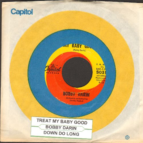 Darin, Bobby - Treat My Baby Good/Down So Long (with Capitol company sleeve and juke box label) - VG7/ - 45 rpm Records