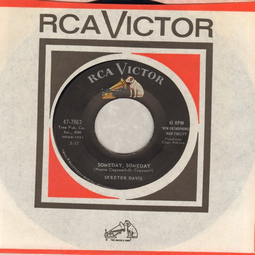 Davis, Skeeter - Someday, Someday/The Hand You're Holding Now (with RCA company sleeve) - NM9/ - 45 rpm Records