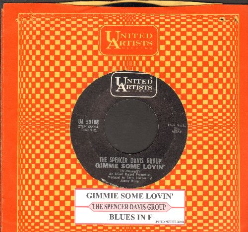 Davis, Spencer Group - Gimme Some Lovin'/Blues In F (with juke box label and company sleeve) - EX8/ - 45 rpm Records