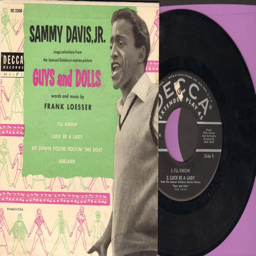 Davis, Sammy Jr. - I'll Know/Sit Down, You're Rockin' The Boat/Adelaide/Luck Be A Lady (Vinyl EP record with picture cover, all songs from Braodway's -Guy's & Dolls-) - VG7/EX8 - 45 rpm Records