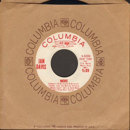 Davis, Jan - More/Mystique (DJ advance pressing with Columbia company sleeve) (sol) - NM9/ - 45 rpm Records