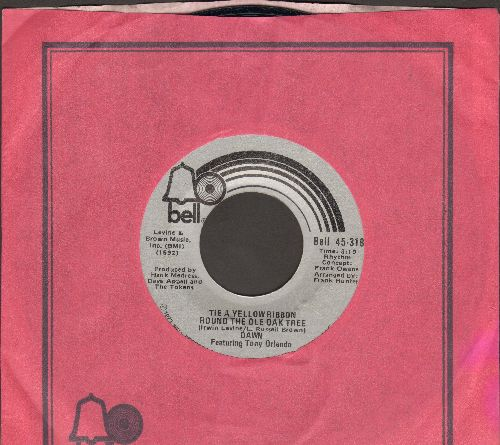 Dawn - Tie A Yellow Ribbon Round The Ole Oak Tree (RADIO FAVORITE!)/I Can't Believe How Much I Love You (1973 first issue with Bell company sleeve) - EX8/ - 45 rpm Records