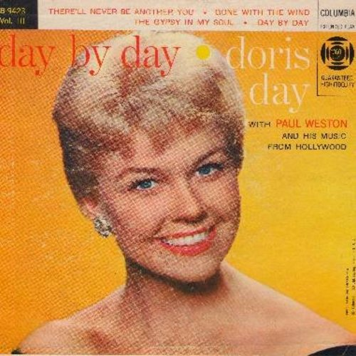 Day, Doris - Day By Day: There'll Never Be Another You/Gone With The Wind/The Gypsy In My Soul/Day By Day (Vinyl EP record with picture cover) - EX8/VG7 - 45 rpm Records