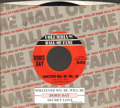Day, Doris - Whatever Will Be, Will Be (Que Sera, Sera)/Secret Love (double-hit re-issue with Columbia company sleeve and juke box label) - NM9/ - 45 rpm Records