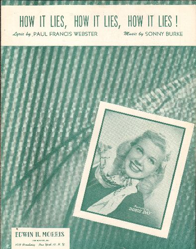 Day, Doris - How It Lies, How It Lies, How It Lies - Vintage SHEET MUSIC for the Doris Day Classic, with BEAUTIFUL cvover portrait of the Singer/Actor, suitable for framing! - EX8/ - Sheet Music