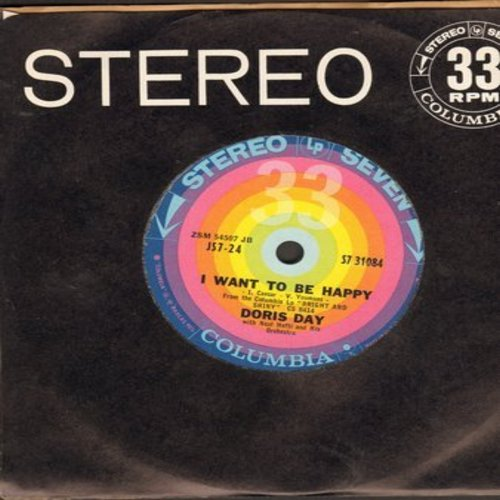 Day, Doris - I Want To Be Happy/Bright And Shiny (RARE 7 inch 33rpm STEREO single with Columbia company sleeve) - NM9/ - 45 rpm Records